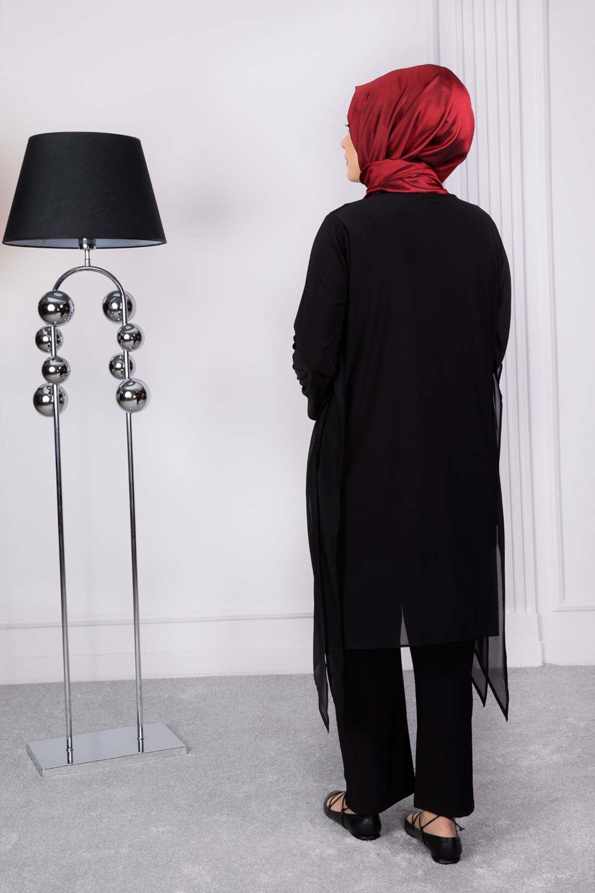 Büyük Beden Tesettür Pantolonlu Takım Siyah 60003