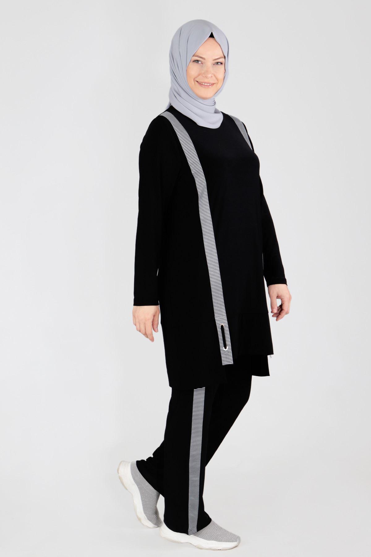 Büyük Beden Tesettür Pantolonlu Takım 35041 Siyah