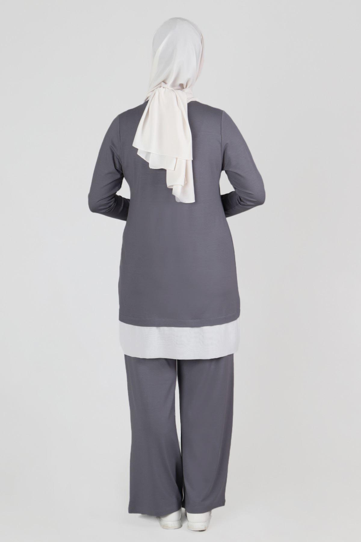 Büyük Beden Tesettür Pantolonlu Takım 35045 Gri