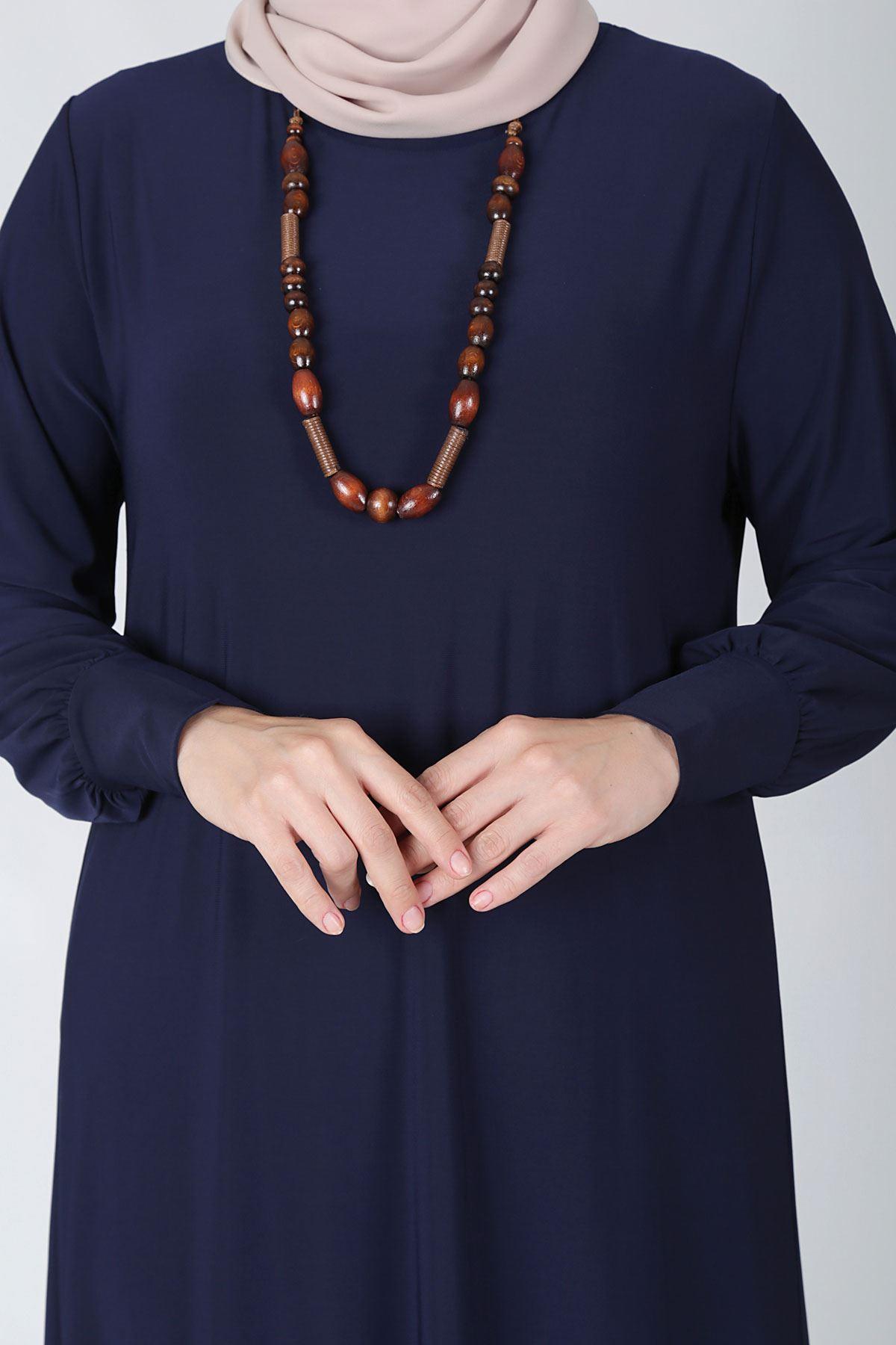 Büyük Beden Tesettür Elbise 75001 Lacivert