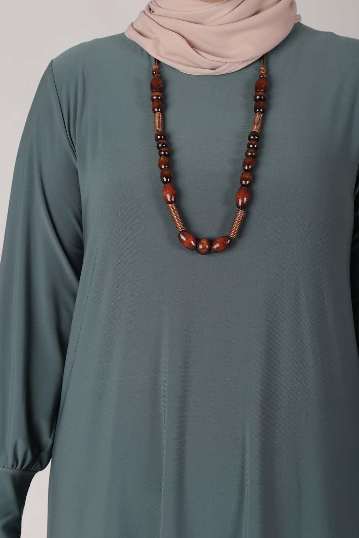 Büyük Beden Tesettür Elbise 75001 Deniz Y.