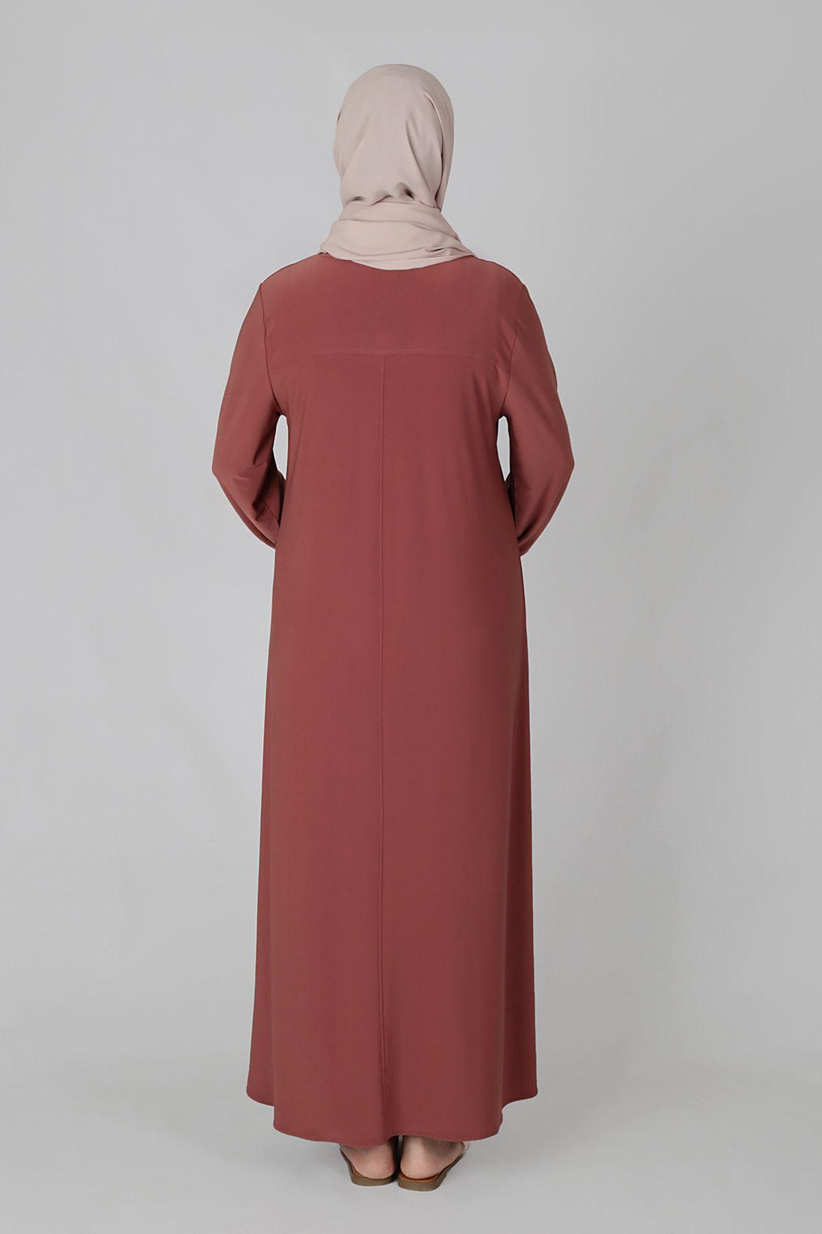 Büyük Beden Tesettür Elbise 75001 Akik