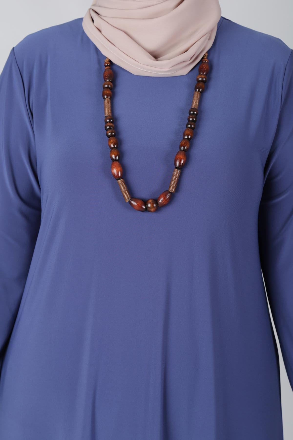 Büyük Beden Tesettür Elbise 75001 İndigo
