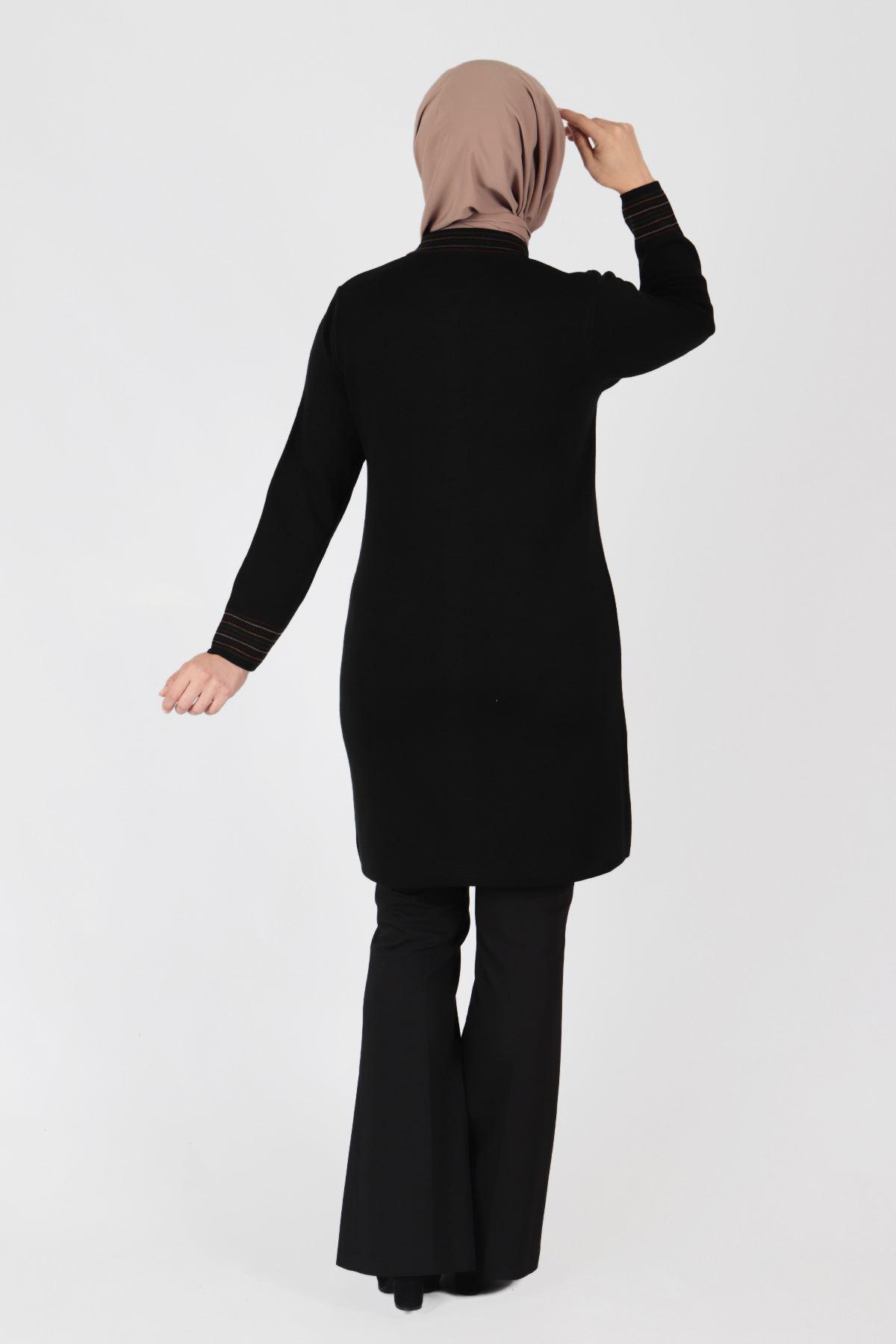 Büyük Beden Tesettür Triko Ceket 9203 Siyah