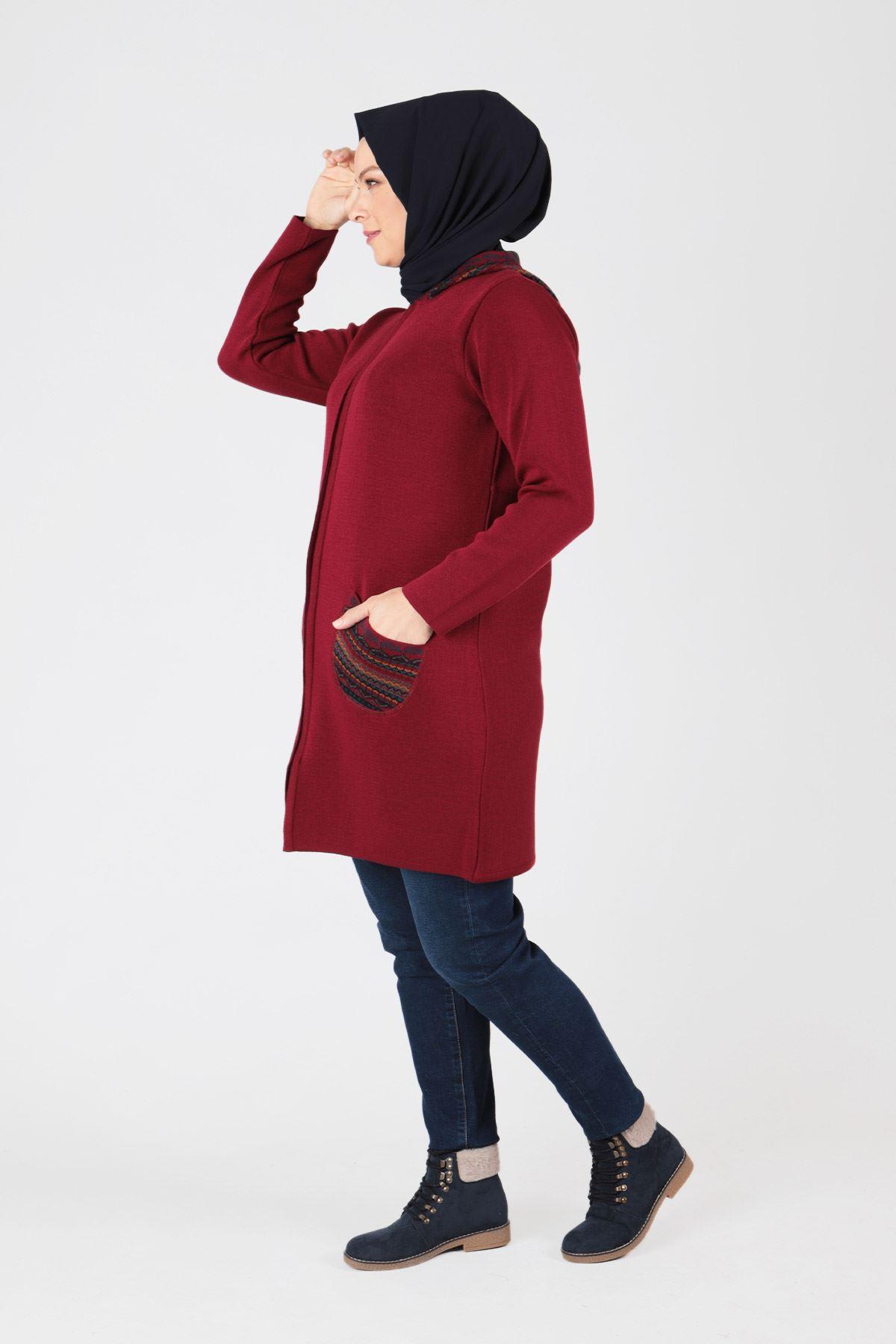Büyük Beden Tesettür  Triko Ceket 9205 Kırmızı