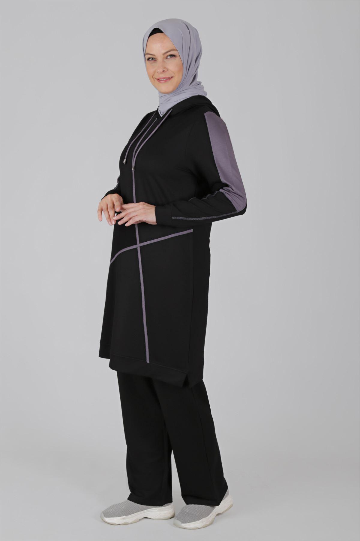 Büyük Beden Tesettür Pantolonlu Takım 35049 Siyah