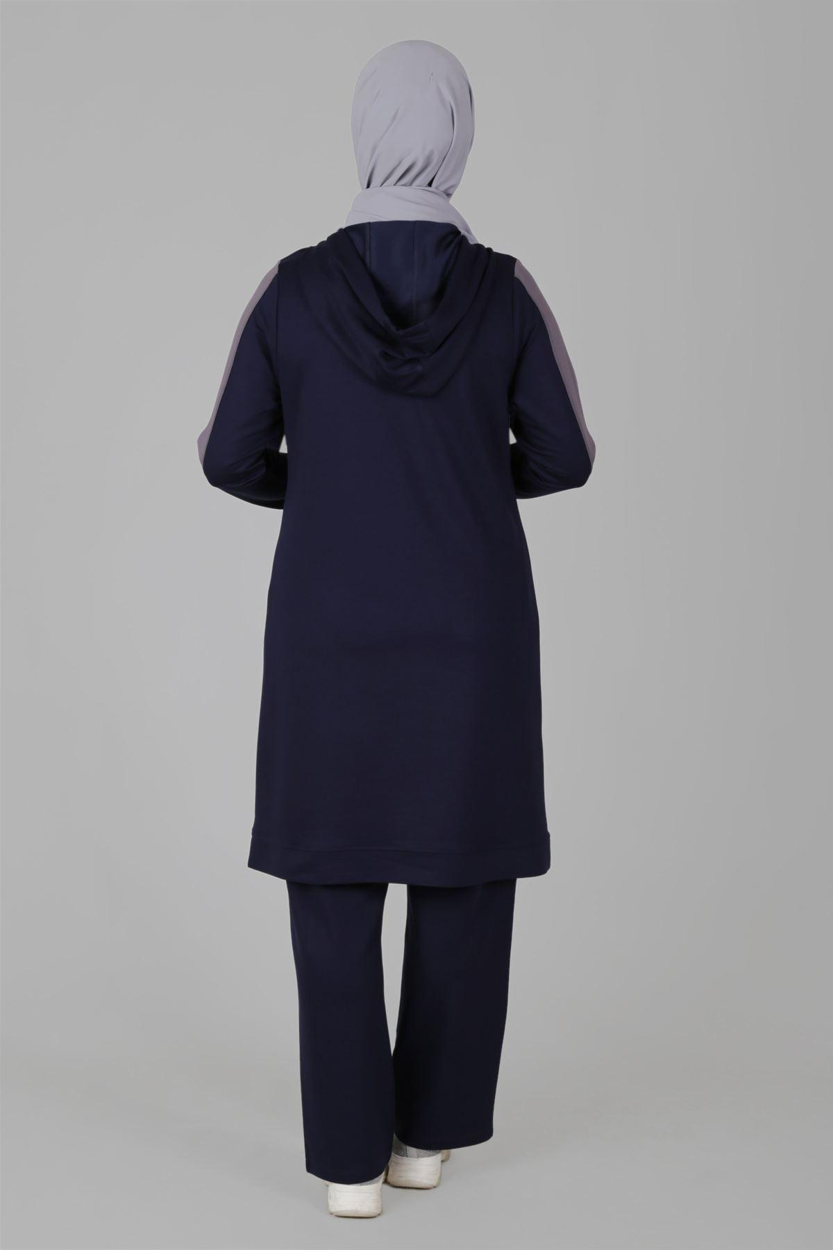 Büyük Beden Tesettür Pantolonlu Takım 35049 Lacivert