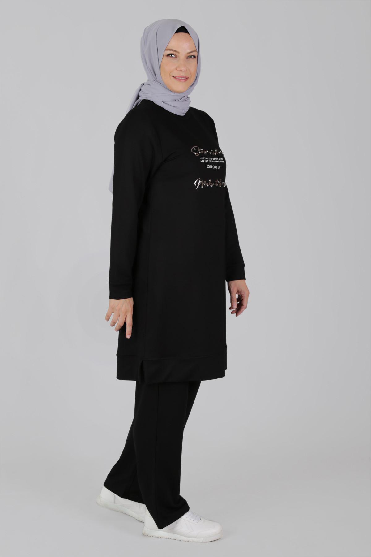 Büyük Beden Tesettür Pantolonlu Takım 35048 Siyah