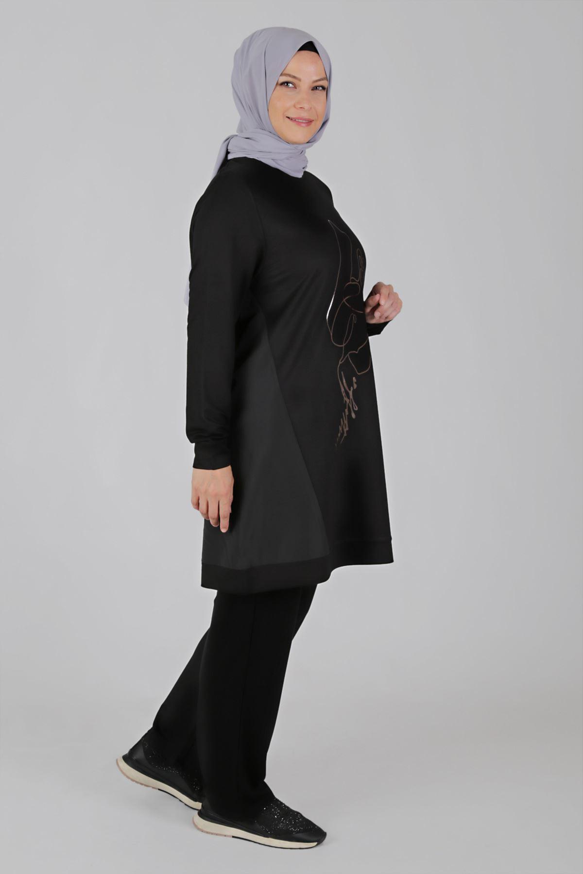 Büyük Beden Tesettür Pantolonlu Takım 35047 Siyah