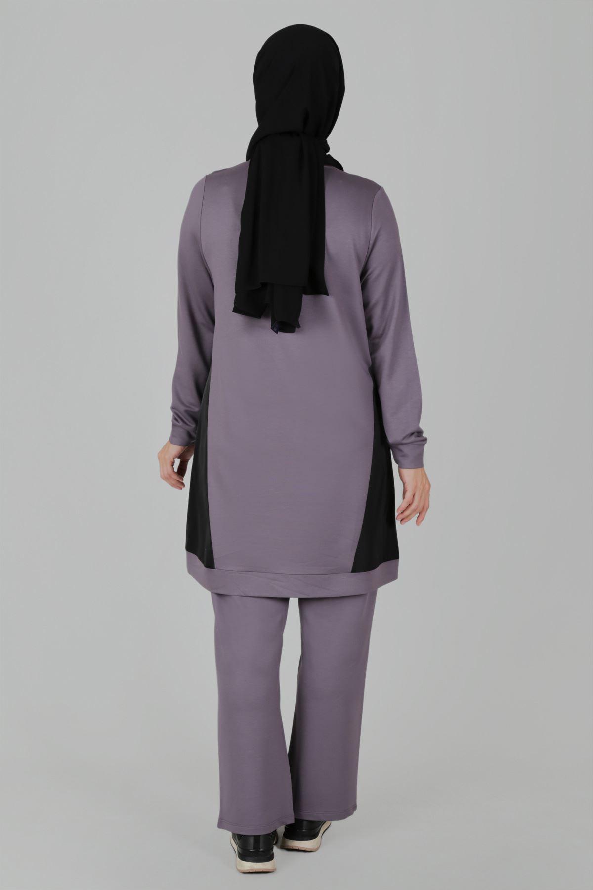 Büyük Beden Tesettür Pantolonlu Takım 35047 Gri