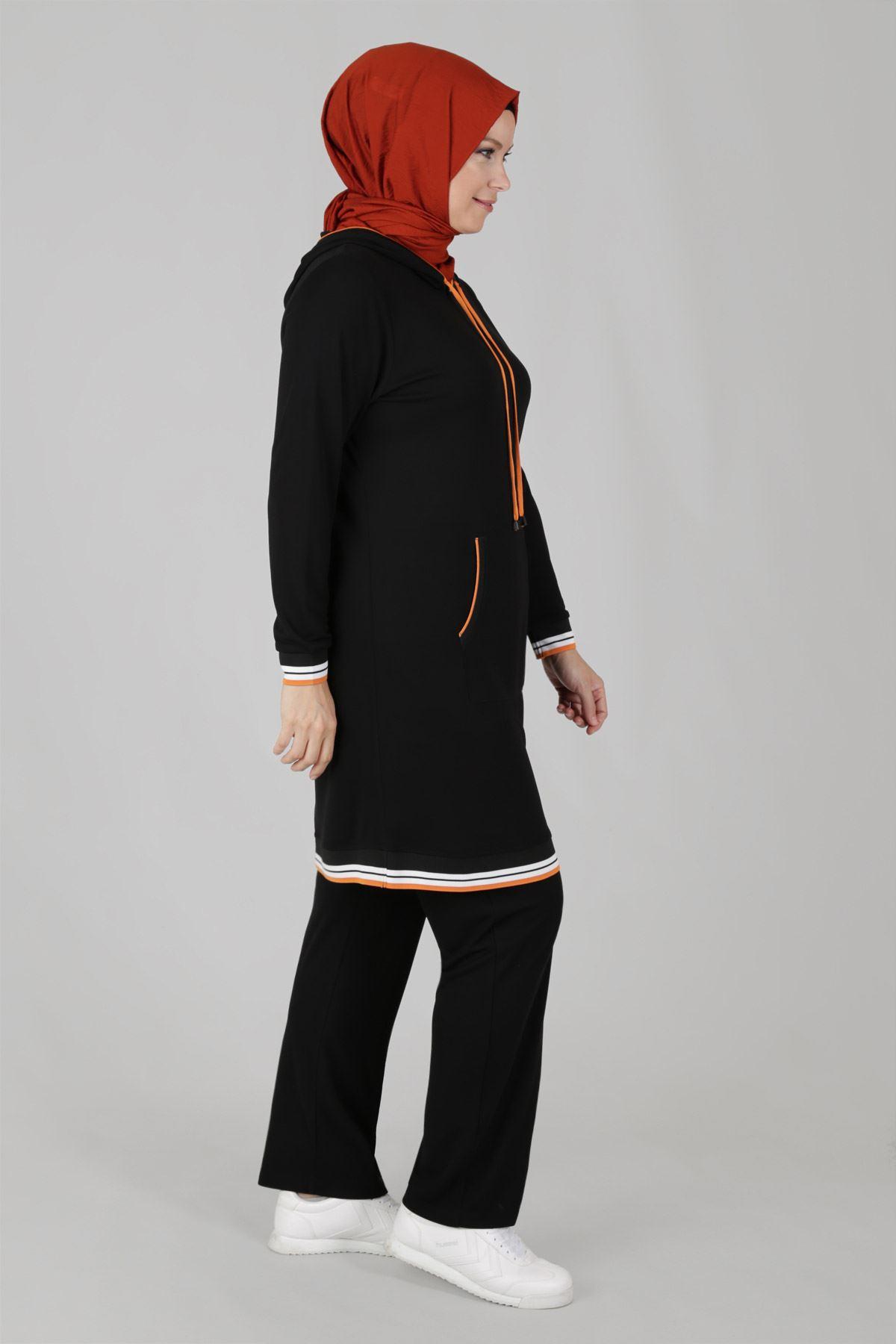 Büyük Beden Tesettür Pantolonlu Takım 35050 Oranj