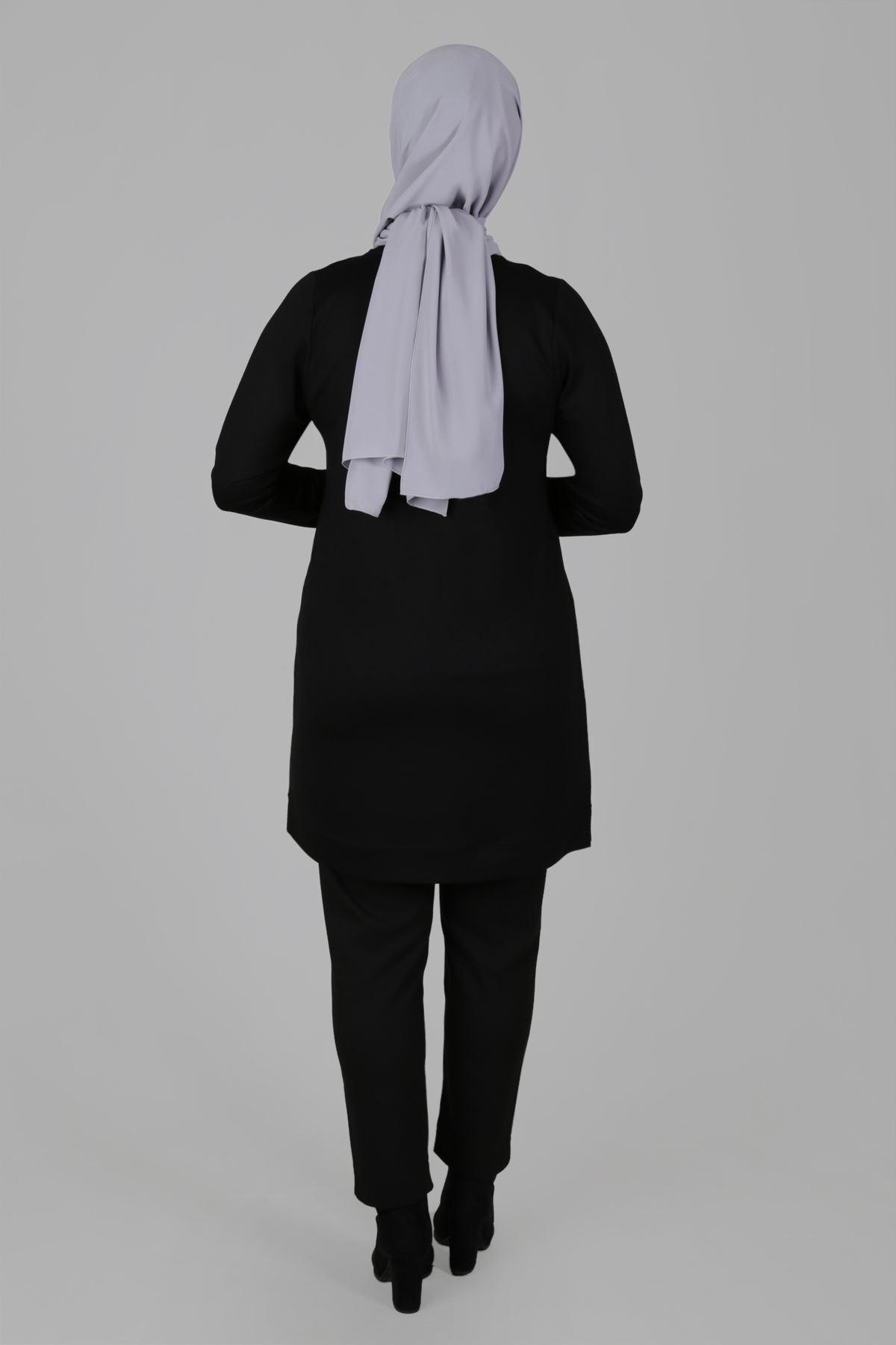 Büyük Beden Tesettür Tunik 20060 Siyah